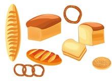 Pane Tipi differenti di pani - pane, pagnotta, bagel, panino, baguette fotografia stock