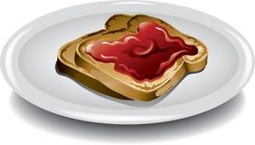 Pane tostato affettato con gelatina Fotografie Stock