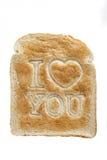 Pane tostato che dice ti amo Fotografie Stock Libere da Diritti