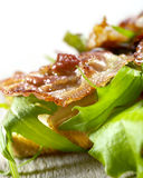 Pane tostato con bacon e lattuga Immagine Stock Libera da Diritti