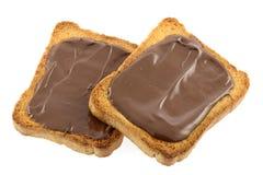 Pane tostato con cioccolato fotografie stock libere da diritti