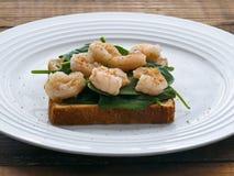 Pane tostato con gli spinaci ed i gamberetti del bambino sul piatto fotografia stock libera da diritti