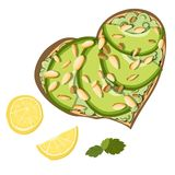Pane tostato con l'avocado illustrazione di stock