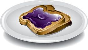 Pane tostato con la gelatina di uva Fotografia Stock Libera da Diritti