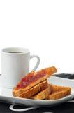 Pane tostato con ostruzione e caffè immagine stock