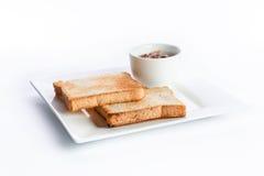 Pane tostato con salsa Fotografie Stock Libere da Diritti