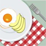 Pane tostato cotto con l'uovo e l'avocado, vista superiore Avocado delizioso di recente al forno con l'uovo dentro, pasto sano Qu fotografia stock