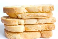 Pane tostato cotto del burro con le mandorle affettate Immagine Stock Libera da Diritti