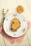 Pane tostato del burro di arachide Immagini Stock