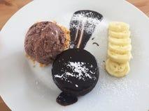Pane tostato del miele e gelato dolci Fotografia Stock