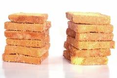 Pane tostato del pane su fondo bianco Fotografia Stock