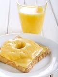 Pane tostato del prosciutto, dell'ananas e del formaggio Fotografia Stock