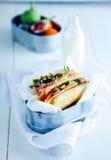 Pane tostato delizioso del panino in vassoio Immagini Stock Libere da Diritti