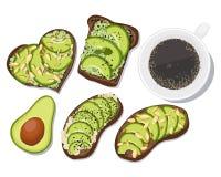 Pane tostato dell'avocado di vettore illustrazione di stock