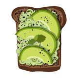 Pane tostato dell'avocado di vettore royalty illustrazione gratis