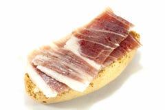 Pane tostato dell'iberico del prosciutto Fotografia Stock
