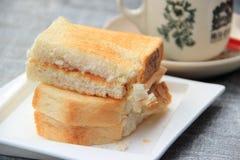 Pane tostato della crema Fotografie Stock
