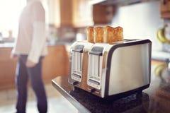 Pane tostato della prima colazione di primo mattino Fotografie Stock