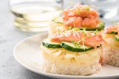 Pane tostato di Bruschetta di pane bianco con le fette di germogli verdi freschi di color salmone del pesce del cetriolo dell'ana fotografia stock libera da diritti