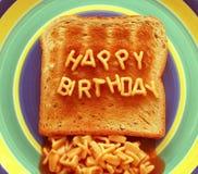 Pane tostato di buon compleanno Fotografia Stock