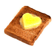Pane tostato e burro Fotografie Stock