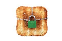 Pane tostato e serratura Immagine Stock