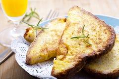 Pane tostato e spremuta Fotografia Stock