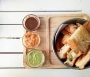 Pane tostato ed ostruzione immagine stock