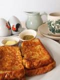 Pane tostato francese con caffè Fotografie Stock Libere da Diritti