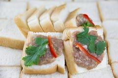 Pane tostato tritato della carne di maiale immagine stock