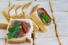 Pane tostato tritato della carne di maiale fotografia stock libera da diritti