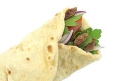 Pane tradizionale del rotolo dell'involucro del turco Kebab del doner del grano duro Fotografie Stock Libere da Diritti
