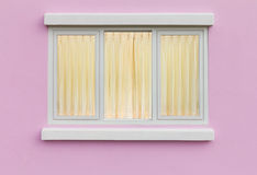 Pane walls curtains. Backdrop for elegant pane white, pink walls. And yellow curtains Royalty Free Stock Photo