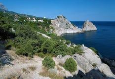Panea and Diva rocks in the town Simeiz in Crimea. View on the town Simeiz and Panea and Diva rocks, Crimea, Ukraine Stock Images
