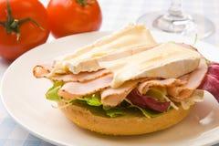 Panecillo delicioso del jamón y del queso imágenes de archivo libres de regalías