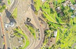 Panecillo Statue Aerial Drone Image. Quito Ecuador Virgen Del Panecillo Monument Important Touristic Destination Drone Aerial Still Image stock image