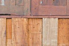 Paneel van het close-up het oude hardhout voor achtergrondgebruik Stock Afbeeldingen