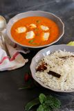 Paneer Butter masala and cooked rice Indian Curry Dinner Stock Images