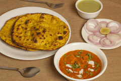 Paneer butter masala with missi roti Stock Image