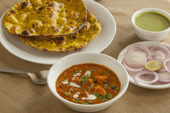 Paneer butter masala with missi roti Stock Photography