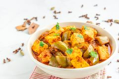 Free Paneer Curry Masala, Indian Vegetarian Dish Of Cottage Cheese And Bell Peppers Stock Photography - 159904592