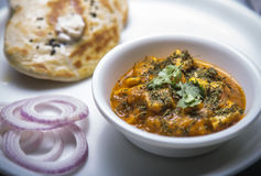 Paneer makhni and naan. North indian lunch specially for punjabi Royalty Free Stock Photos