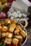 Paneer. Mutter paneer along with raw paneer famous indian dish Royalty Free Stock Photo