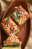 Paneer Palak Dhokla - A snack from India Royalty Free Stock Image