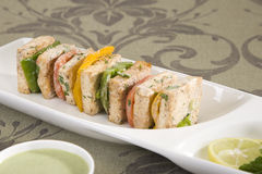 Paneer Tikka Kebab or cheese skewers with chili sauce Royalty Free Stock Photography