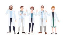 Panel av doktorer eller rådet av läkare som diskuterar sjukvårdfrågor Möte av medicinarbetare Grupp av ilsket och vektor illustrationer