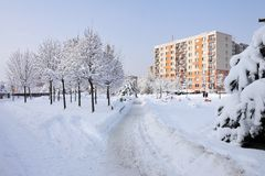 Panel buildings in winter Stock Photography