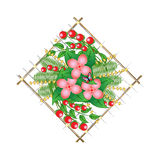 Panel composition with flowers Royalty Free Stock Photo