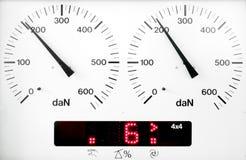 Panel control meter of car braking test. (working status Royalty Free Stock Image