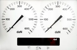 Panel control meter of car braking test Royalty Free Stock Image
